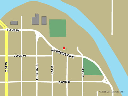Map indicating the location of Drumheller Scheduled Outreach Site at 180 Riverside Drive East in Drumheller