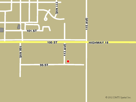 Map indicating the location of Westlock Scheduled Outreach Site at 11304 99 Street in Westlock