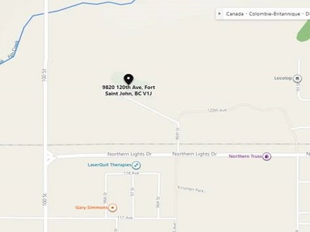 Map indicating the location of Fort St. John Scheduled Outreach Site at 9820 - 120th Avenue in Fort St. John