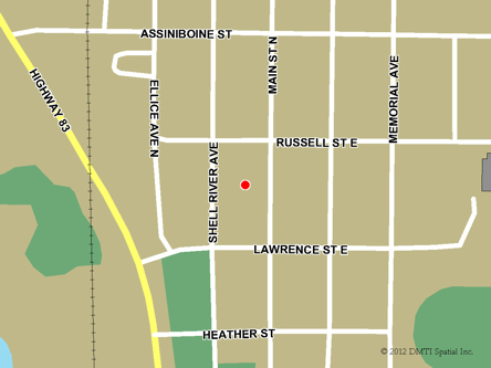 Map indicating the location of Russell Scheduled Outreach Site at Main Street and Lawrence Avenue in Russell