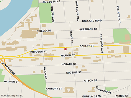 Map indicating the location of Winnipeg St. Boniface Scheduled Outreach Site at 170 Goulet Street in Winnipeg