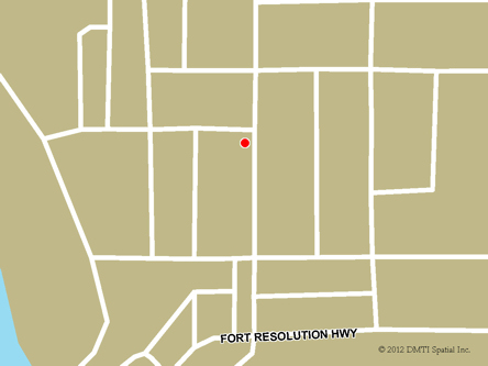 Map indicating the location of Fort Resolution Scheduled Outreach Site at   in Fort Resolution