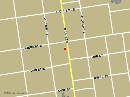 Map indicating the location of Exeter Scheduled Outreach Site at 349 Main Street South  in Exeter