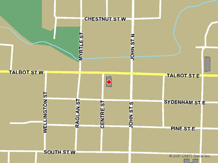 Map indicating the location of Aylmer Scheduled Outreach Site at 25 Centre Street in Aylmer