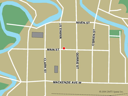 Map indicating the location of Atikokan Scheduled Outreach Site at 214 Main St. West in Atikokan