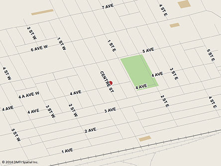 Map indicating the location of Shaunavon Scheduled Outreach Site at 109 3rd Avenue West in Shaunavon