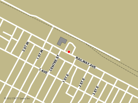 Map indicating the location of Ponteix  Scheduled Outreach Site at 110 Railway Avenue in Ponteix