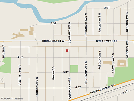 Map indicating the location of Fort Qu'Appelle Scheduled Outreach Site at 148 Company Avenue South in Fort Qu'Appelle